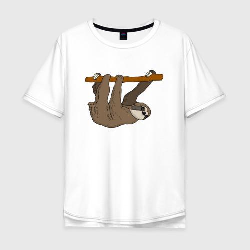 Мужская футболка хлопок Oversize Ленивец