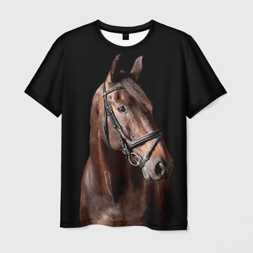 Мужская футболка 3D Гнедая лошадь