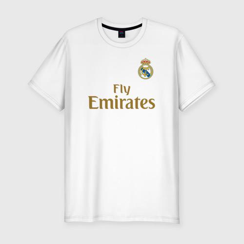 Мужская футболка хлопок Slim Азар Форма Реал Мадрид 19/20