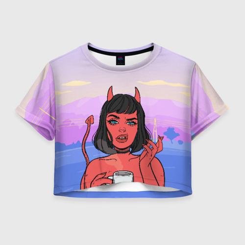 Женская футболка Crop-top 3D What