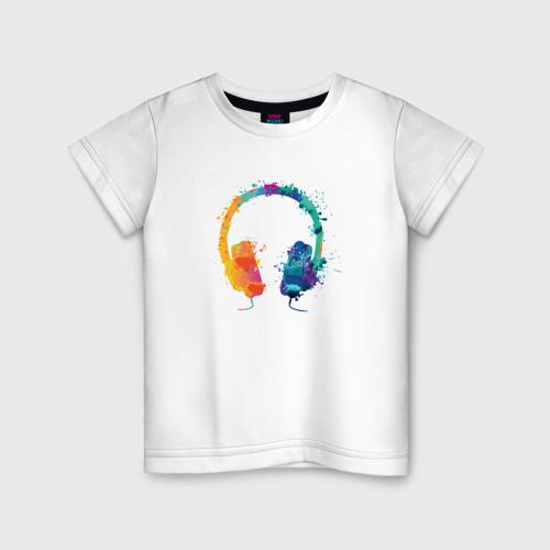 Детская футболка хлопок Красочные Наушники