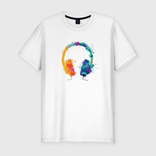 Мужская футболка хлопок Slim Красочные Наушники