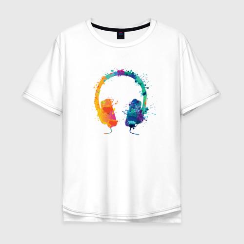 Мужская футболка хлопок Oversize Красочные Наушники