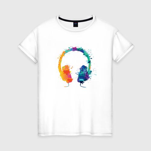 Женская футболка хлопок Красочные Наушники