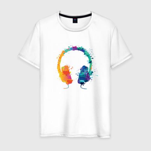 Мужская футболка хлопок Красочные Наушники