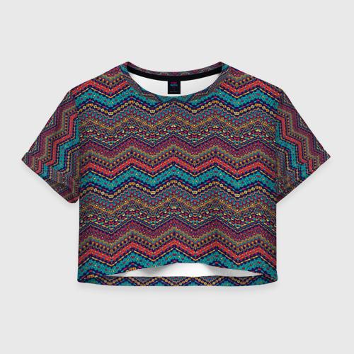 Женская футболка Crop-top 3D Африканский Орнамент 2