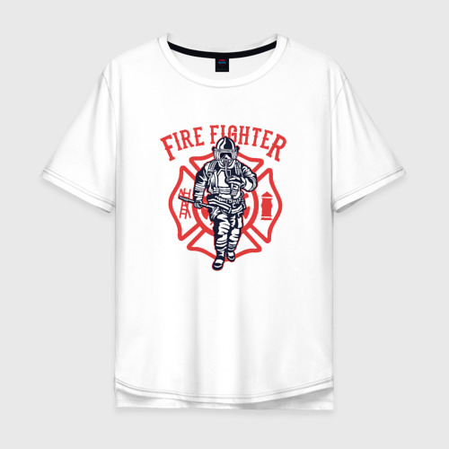 Мужская футболка хлопок Oversize Fire fighter