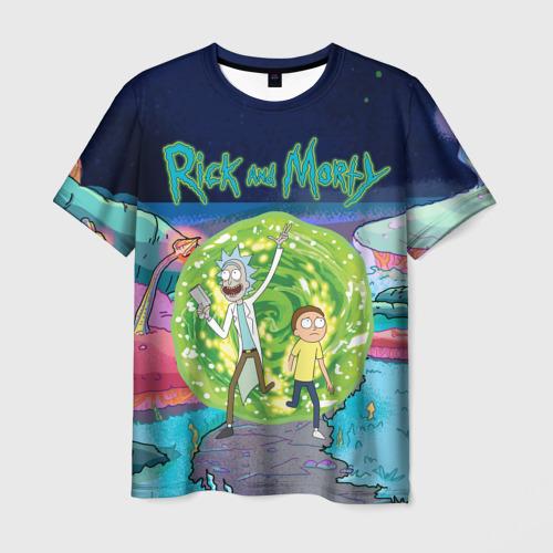 Мужская футболка 3D Путешествия Рик и Морти