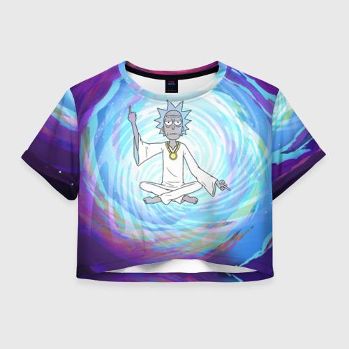 Женская футболка Crop-top 3D  Rick in nirvana