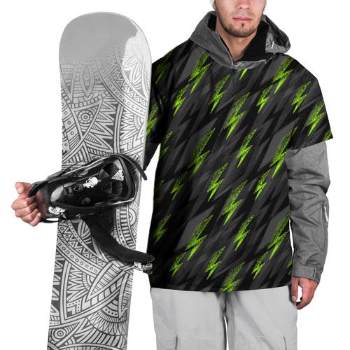 Накидка на куртку 3D Зеленые молнии