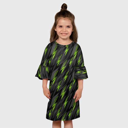 Детское платье 3D Зеленые молнии