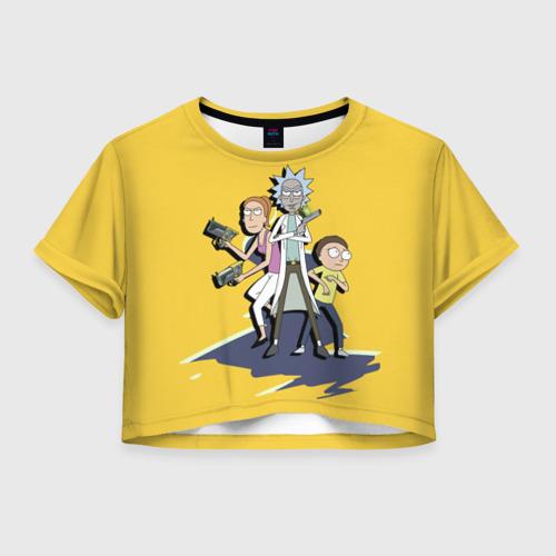 Женская футболка Crop-top 3D Summer, Rick, Morty