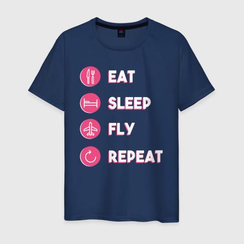 Мужская футболка хлопок Есть. Спать. Летать. Повторить