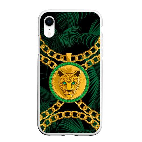 Чехол для iPhone XR матовый Золотой леопард
