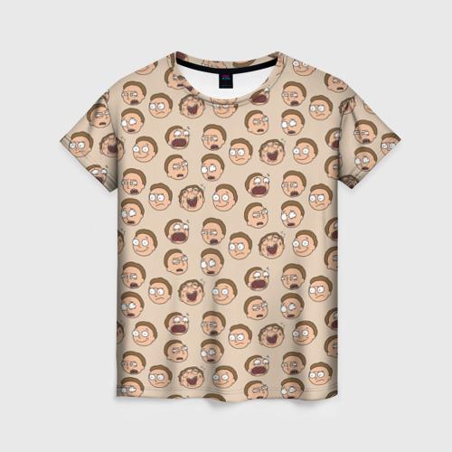 Женская футболка 3D Эмоции Морти