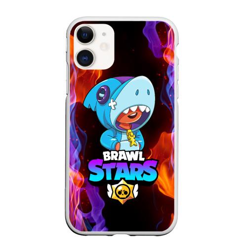 Чехол для iPhone 11 матовый BRAWL STARS LEON SHARK
