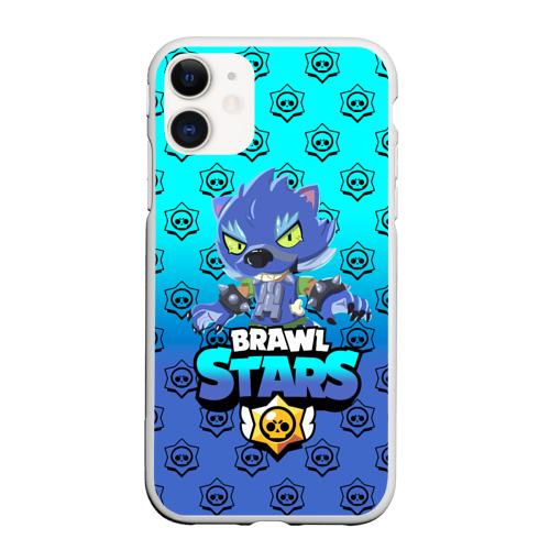 Чехол для iPhone 11 матовый Brawl stars leon shark.