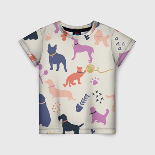 Детская футболка 3D Домашние животные паттерн | Pets pattern