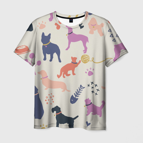 Мужская футболка 3D Домашние животные паттерн | Pets pattern