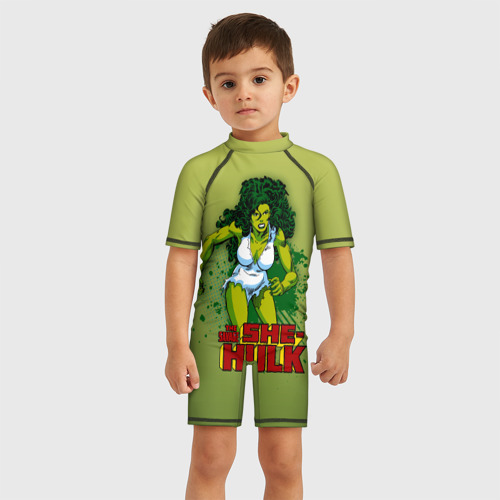 Детский купальный костюм 3D Женщина-Халк