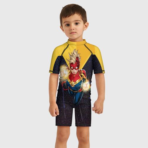 Детский купальный костюм 3D Капитан Марвел ака Кэрол Дэнверс
