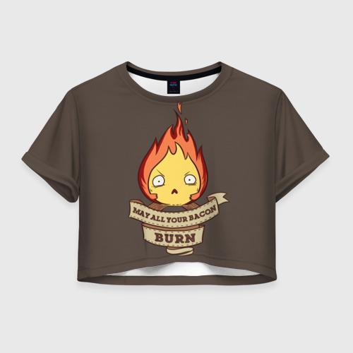 Женская футболка Crop-top 3D Burn emotion