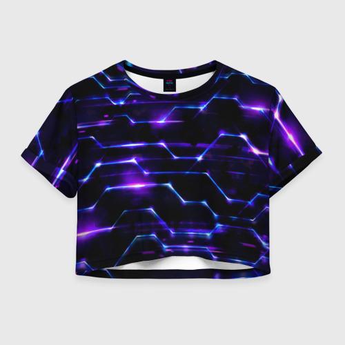 Женская футболка Crop-top 3D Технологии будущее нано броня