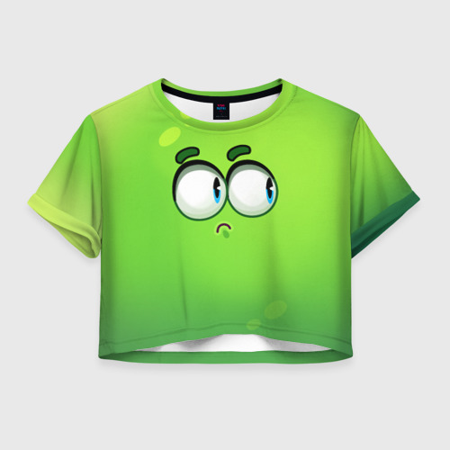 Женская футболка Crop-top 3D Инопланетянин - эмоция