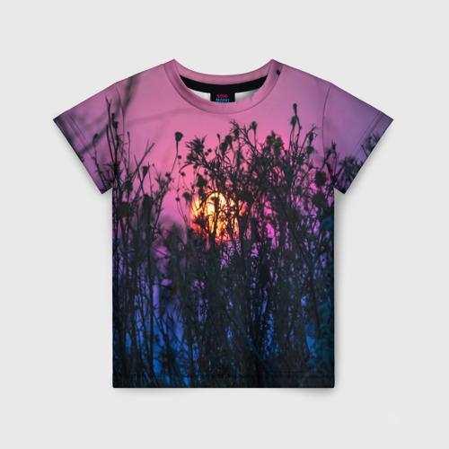 Детская футболка 3D Трава растения закатный свет