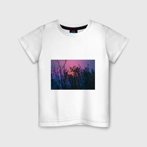 Детская футболка хлопок Трава растения закатный свет