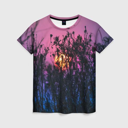 Женская футболка 3D Трава растения закатный свет