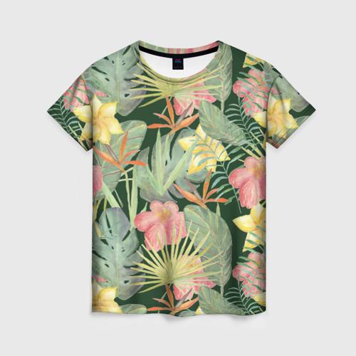 Женская футболка 3D Тропические растения и цветы