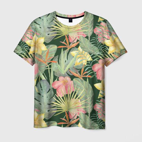Мужская футболка 3D Тропические растения и цветы