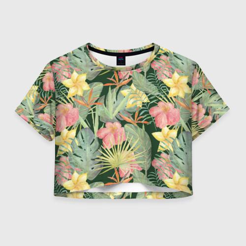 Женская футболка Crop-top 3D Тропические растения и цветы