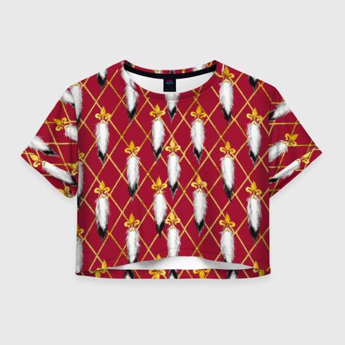Женская футболка Crop-top 3D Versace red gold