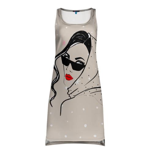 Платье-майка 3D Модная девушка в очках