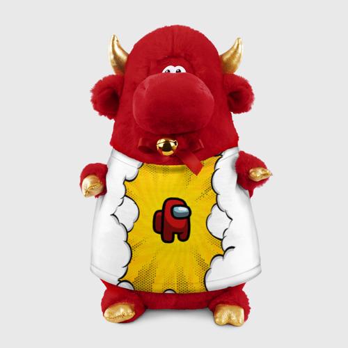 Игрушка Бычок в футболке 3D Among us RED