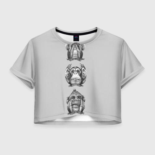 Женская футболка Crop-top 3D Эмоции обезьяны