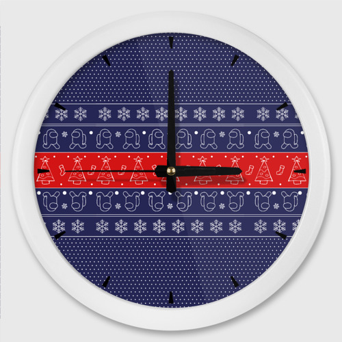 Настенные часы круглые Новогодний Among Us