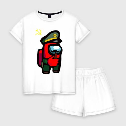Женская пижама с шортиками хлопок Among us USSR