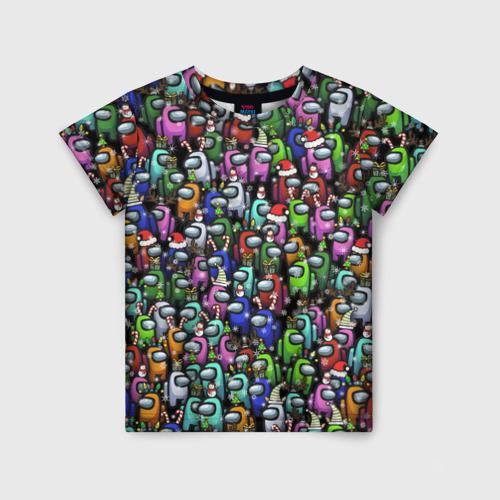 Детская футболка 3D Among Us. С Новым Годом!