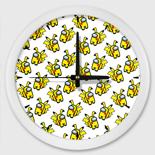 Настенные часы круглые Among us Pikachu