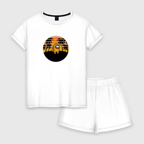 Женская пижама с шортиками хлопок Among us Tropical
