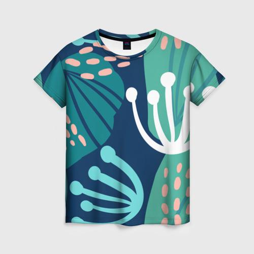 Женская футболка 3D Растения джунглей
