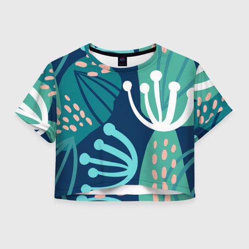 Женская футболка Crop-top 3D Растения джунглей
