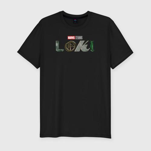 Мужская футболка хлопок Slim Локи   Marvel (белый лого)