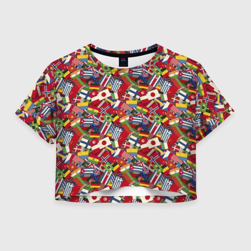 Женская футболка Crop-top 3D Страны Мира